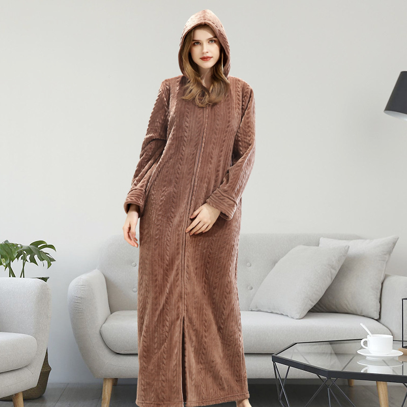 Autumn Winter Bathrobe Long Thick Warm Robe femme With Hat Dressing Gowns For Women Solid Home Bathrobes large size