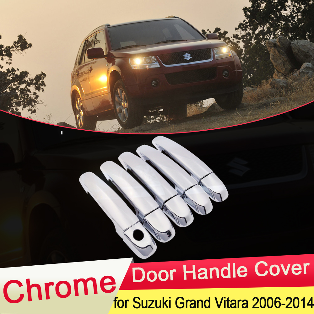 for Suzuki Grand Vitara Grand Nomade Escudo 2006 2014 Chrome Door Handle Cover Trim Catch Set Car Styling Accessories 2007 2008