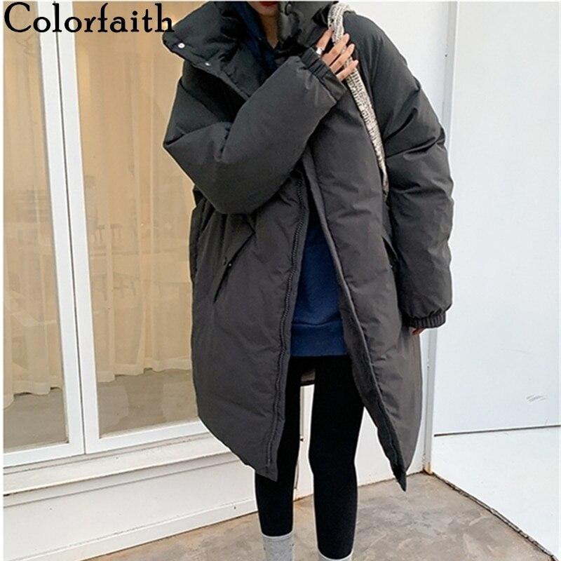 Colorfaith/Новинка 2021 года; Сезон зима-весна; Женская куртка с карманами и воротником-стойкой; Парки высокого качества; Теплое длинное пальто; CO850