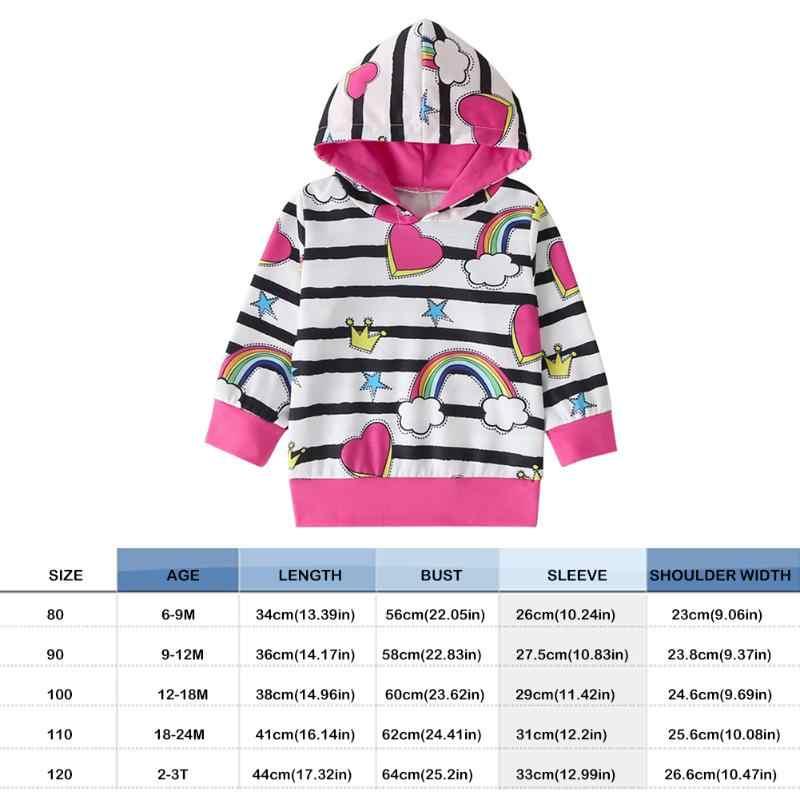 ファッションかわいいベビーパーカーキッズガールズ秋綿暖かいストライプ虹印刷長袖スプライシングトレーナーコート