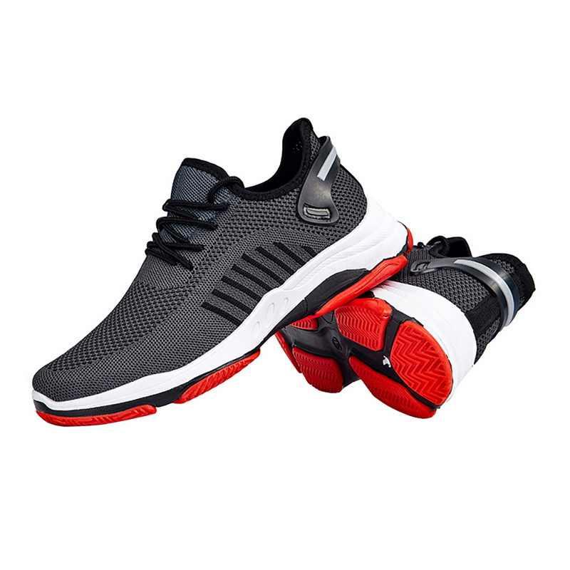 أحذية رياضية الرجال الدانتيل يصل بلون الأحذية الذكور تمتد Febric شبكة الضحلة الشقق تنفس كونفورت حذاء رياضي على الموضة