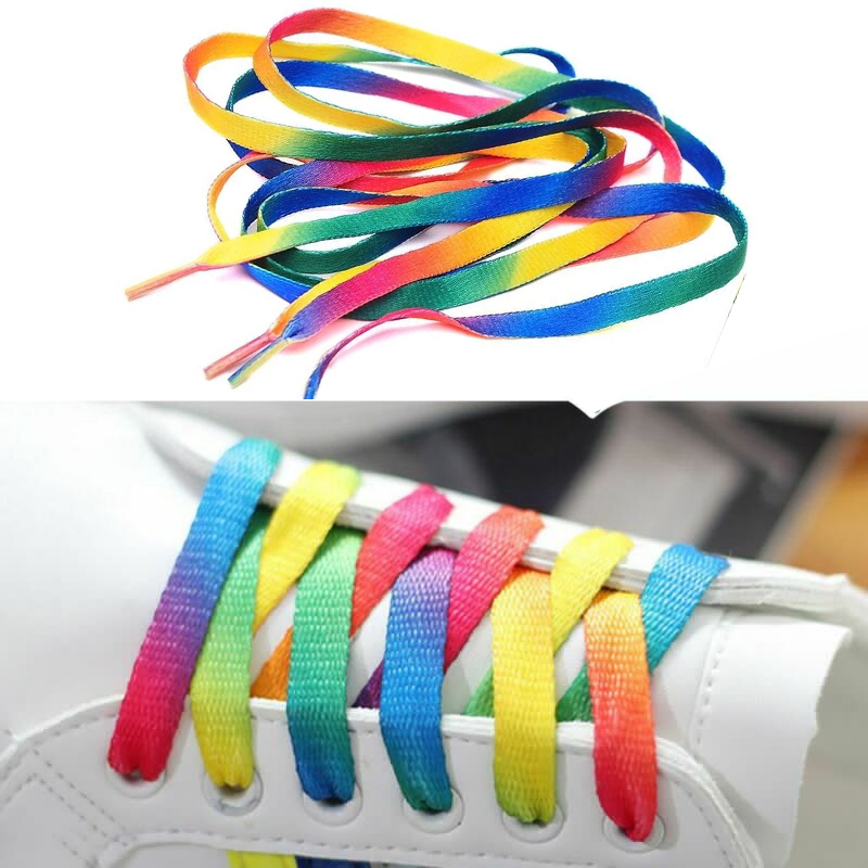 1Pair Colorful Shoelaces Rainbow Gradient Flat Shoe Laces For Canvas Casual Shoes Chromatic Colour Shoelace 80CM/100CM/120CM/150