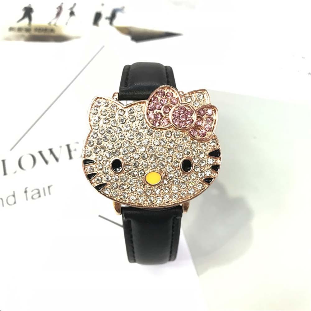 Hello Kitty Cartoon Cute Cat Children Diamond Starry Sky Bling Bling Watch Kids Watch Gift Anime Student Boy Girl Flip Часы