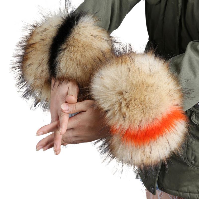 Faux Fur Cuffs Women Jackets Sleeve Decor Fake Fox Raccoon Fur Arm Wrist Elastic Oversleeve Sleeve Gloves Wristband Hand Ring