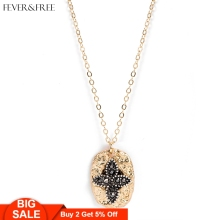 Fever&Free Women&Female Fashion Classic Cross Crystal Necklace Oval Rhinestone Jewelry Pendant Luxury Wholesale
