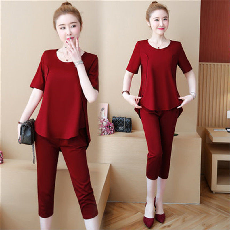 2019 Summer Wear New Style Large GIRL'S Fashion Short Sleeve WOMEN'S Suit Large Size Dress Plus-sized Slimming Two-Piece Set Fas