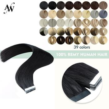 AW 16'' 20'' 24'' Tape In Human Hair Extensions Straight Double Drawn Remy Hair Seamless Skin Weft Adhesive Hair Salon Style isheeny remy human hair tape extensions straight 12 22 skin weft seamless hair extension samples for salon hair testing