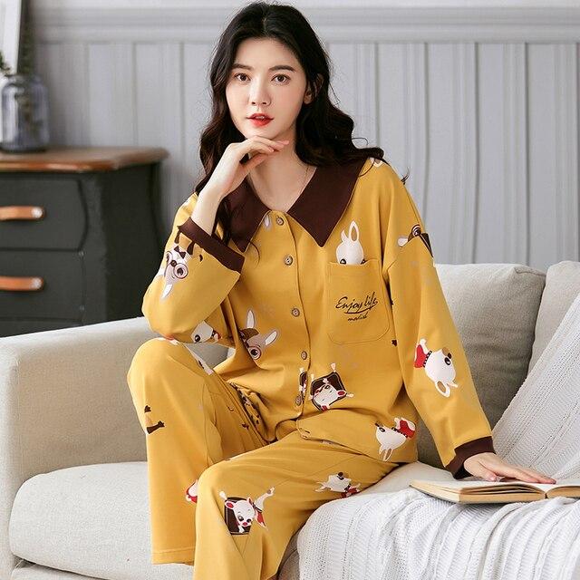 BZEL Neue Frühling Herbst Nachtwäsche Sets Kawaii Cartoon Pyjama Anzug Für Frauen Weiche Baumwolle Damen Hause Tragen Große Größe Pijama pyjama