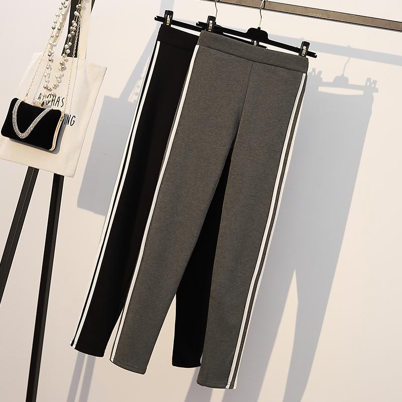 L-4XL Winter Plus size Warm Fleece Legging Women Striped Thick Velvet Bottoming Skinny Pants Large Size Pencil Leggings Trousers