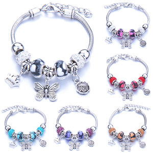 Bracelet Jewelry 6 Colors Silver Lobster Buckle Snake Chain Bangles Beaded Bracelet Fit Jewelry Butterfly Flower Crown shape(China)