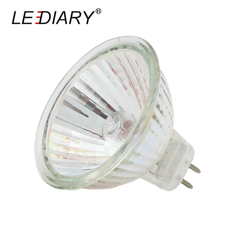LEDIARY 10PCS Super Bright Dimmable MR16 GU5.3 Halogen Spot Light 12V 20/35/50W  Halogen Bulbs Cup Shape Lamp Clear Quartz Glass