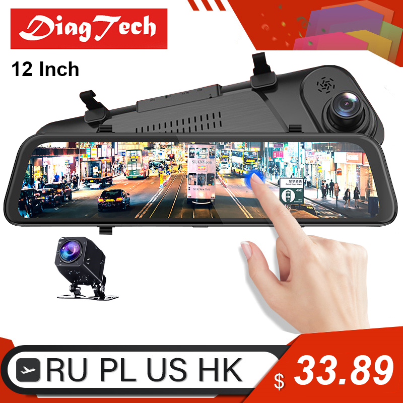 12'' car rearview mirror auto recorder 1080P FHD rear view mirror car dvr super night vision streaming media dash cam mirror dvr