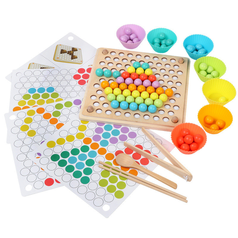 DIY Creative Wood Puzzle Toy Colorful Beaded Training Eat Cognitive Play Games Early Educational Toys For Children Kids Baby