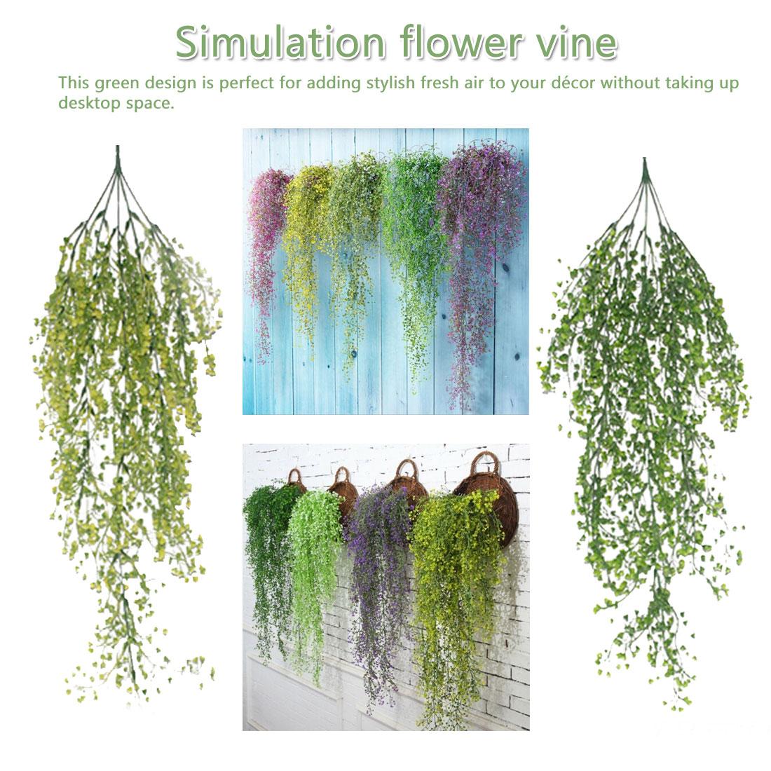 New 85cm Artificial Flowers Simulation Vine Hanging Garland Plant Green Leaves Wedding Home Garden Decoration