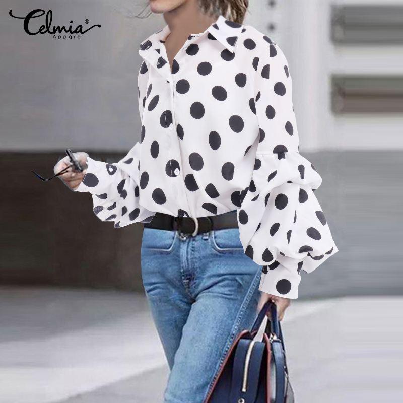 Women Casual Lantern Sleeve Shirts Celmia 2020 Autumn Elegant Polka Dot Blouse Turn-down Collar Loose Blusas Mujer Plus Size Top
