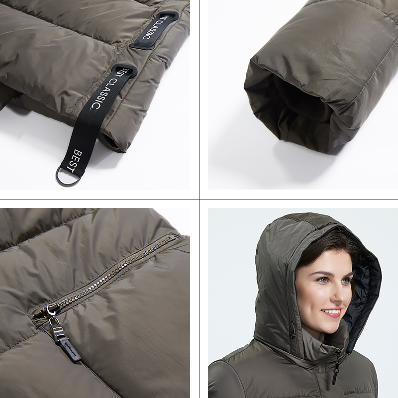 Astrid 2019 Winter new arrival down jacket women outerwear high quality thick cotton black color hood long winter coat AR-7112