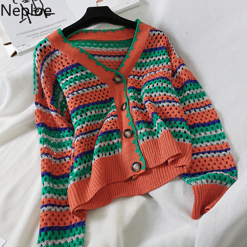 Neploe Sweater Women Cardigans Hollow-Out Kawaii-Color Coat Korean Striped V-Neck 46056