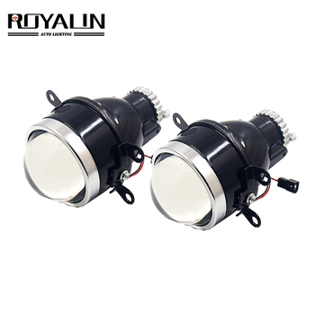 цена на ROYALIN Car Metal Fog Lights Bi Xenon Lens H11 D2S D2H HID Projector Waterproof High Low Beam Bifocal Driving Lamps Retrofit DIY