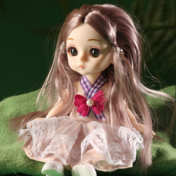 New 13 Joint Movable 16cm Bjd Doll 3D Eyes Mini Cute Princess Fashion DIY Dressed Up Toys for Girls The Best Holiday Gift fashion sd bjd doll girls doll with clothes blue eyes 18 inch cute princess doll toys for children s new year gift