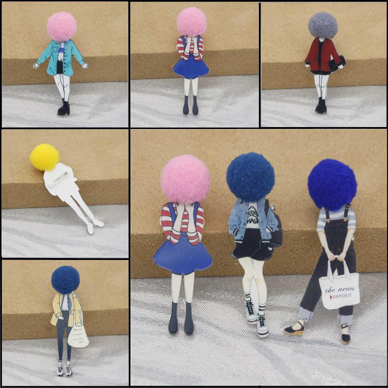 Moda broş Pins kadınlar için broş takı kızlar yüz karikatür modelleri akrilik broş oldukça güzel giyim aksesuarları