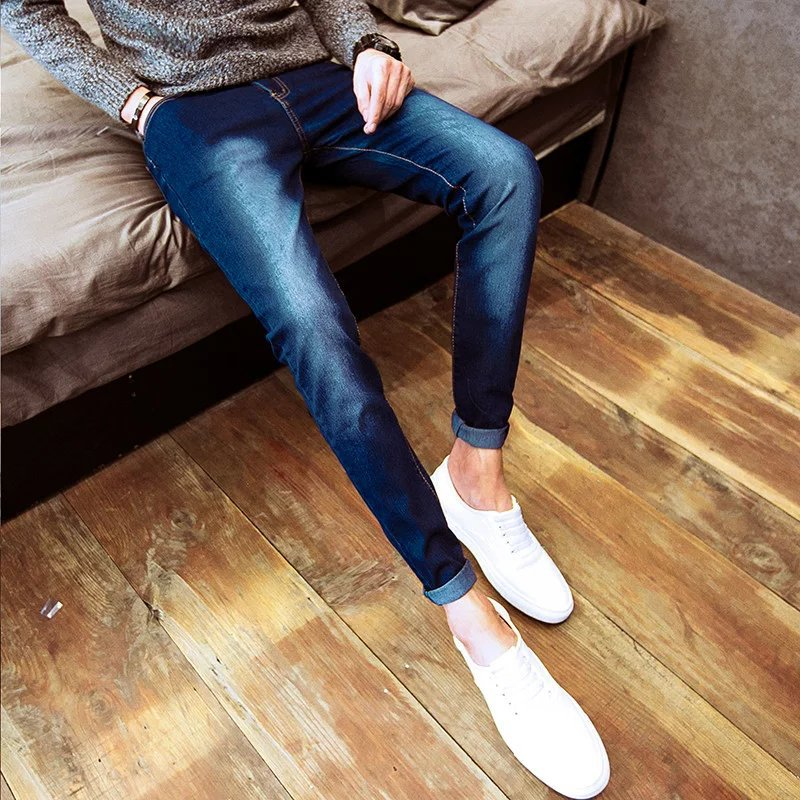 2018 Spring And Summer Hot Selling MEN'S Jeans Korean-style Slim Fit Skinny Pants Teenager Black And White With Pattern Trend Lo