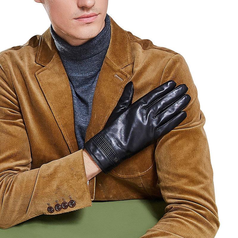 Genuine Leather Gloves Male Autumn Winter Plus Velvet Thicken Touch Screen Men Keep Warm Driving Sheepskin Gloves MX9161