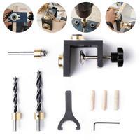 Neue Multifunktions Holzbearbeitung Doweling Jig Kit Einstellbare Bohrer Guide Puncher Locator Für Möbel Anschluss Zimmerei-in Handwerkzeug-Sets aus Werkzeug bei