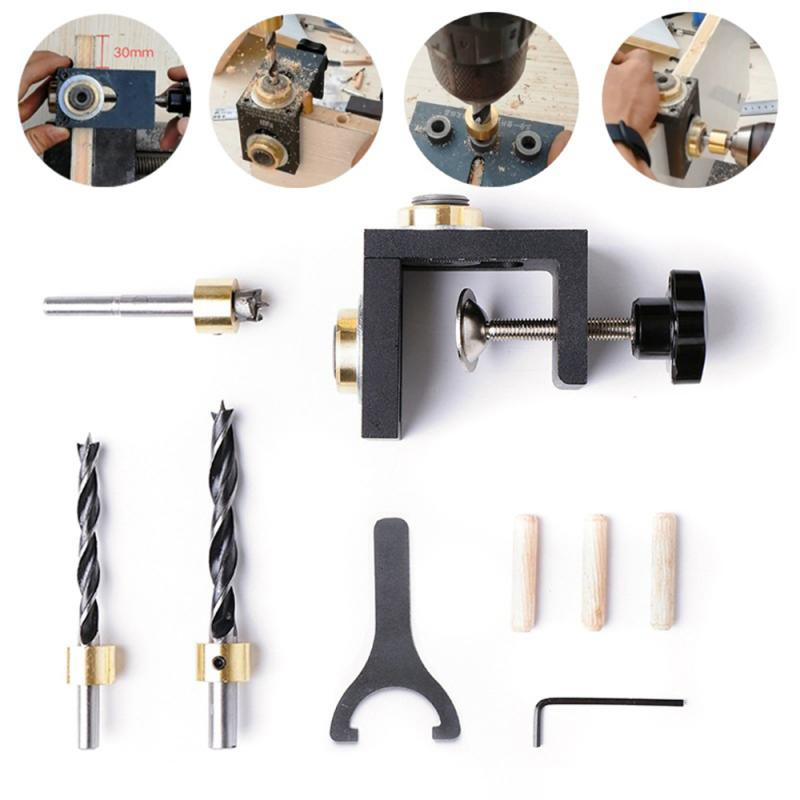 New Multifunction Woodworking Doweling Jig Kit Adjustable Drill Bit Guide Puncher Locator For Furniture Connecting Carpentry