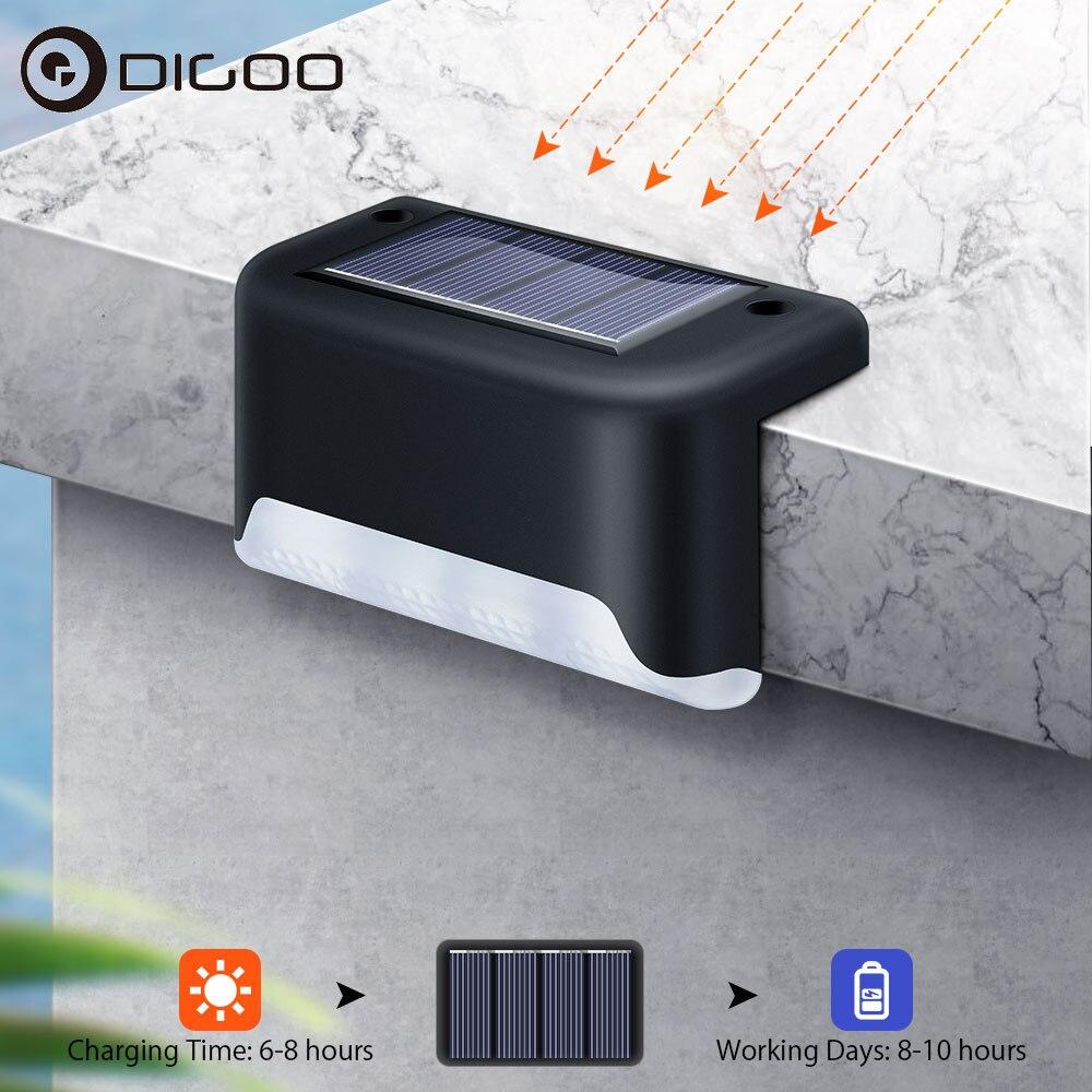 DIGOO DG-SL612 4Pcs Outdoor Solar Step Lamp IP55 Waterproof Solar Garden Light Night Wall Light For Desk Fences Yard Stair Steps