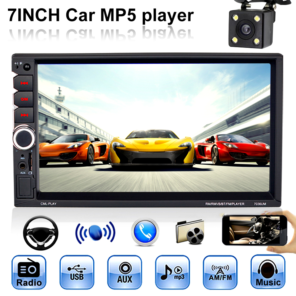 Car Multimedia Player 7 Inch Touch Screen Bluetooth 2 Din Mirror Link Support Rear Camera Auto FM Radio Audio Car MP4 MP5 Player image