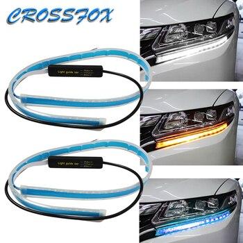 2X LED DRL Daytime Running Flasher Light Flexible Soft Tube Guide Strip Bar White Turn Yellow Signal Lights