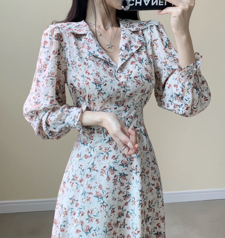 He3a1f5dfb3ce498a874d1a950655a124g - Autumn Revers Collar Long Sleeves Floral Print Midi Dress