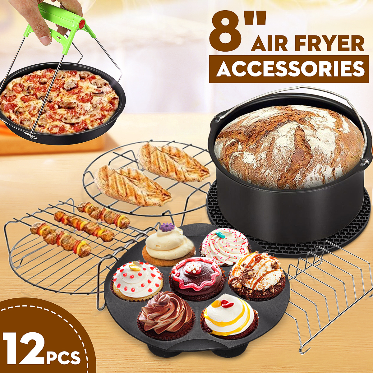 12pcs Air Fryer Accessories 8 Inch Fit for Airfryer 5.2 5.8QT Baking Basket Pizza Plate Grill Pot Kitchen Cooking Tool for Party