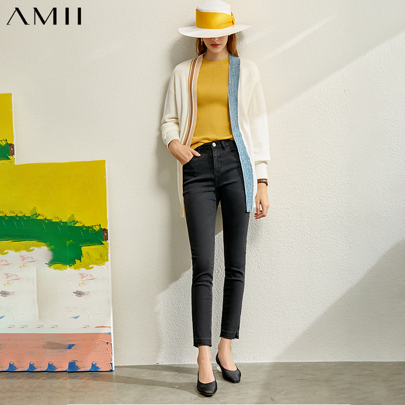 Amii Minimalist Spring Knitted Cardigan Women Patchwork Single-breasted V-neck Loose Female Long Coat 12077480