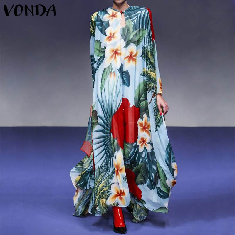 VONDA Women Vintage Floral Print Maxi <font><b>Dress</b></font> <font><b>Plus</b></font> <font><b>Size</b></font> Bohemian Floor-Length <font><b>Dress</b></font> 2020 <font><b>Sexy</b></font> Vestidos Casual Loose Long Robe 5XL image