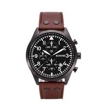 BORONG שעון גבר לוח שנה הכרונוגרף שעון multi פונקצית Mens ספורט שעון עמיד למים נירוסטה קוורץ שעוני יד שעון