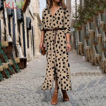 Lange Mouw Overhemd Boho Met Slit Button Up Maxi Jurken Elegant Summer Holiday Party Mode Vrouwen Kleding Vestidos 20Mar(China)