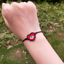 FAIRYWOO Gothic Heart Bracelets Miyuki Evile Eye Jewelry Handmade Drawstring Charm Red Black Rope Bracelet Gifts