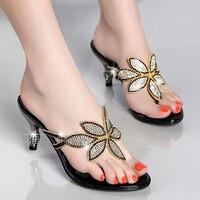 2020 Summer Rhinestones shoes for women's sandals for women sandals High heeled stiletto feet fashion herringbone slippers