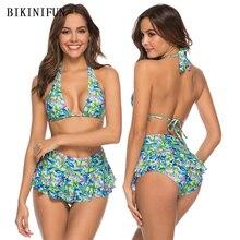 New Sexy Skirt Bikini Women Swimsuit Multi Layers Bottom Swimwear S-XL Girl Floral Print Bathing Suit Backless Halter Bikini Set цена 2017