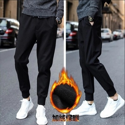 2018 Autumn And Winter Men's Elasticity Casual Pants Slim Fit Pants Large Size Korean-style Brushed And Thick Athletic Large Siz