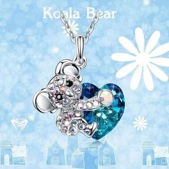 Señora colgante collar Color oro rosa Diamante de imitación lindo Koala corazón collares 2020 mujeres joyería de moda para las mujeres