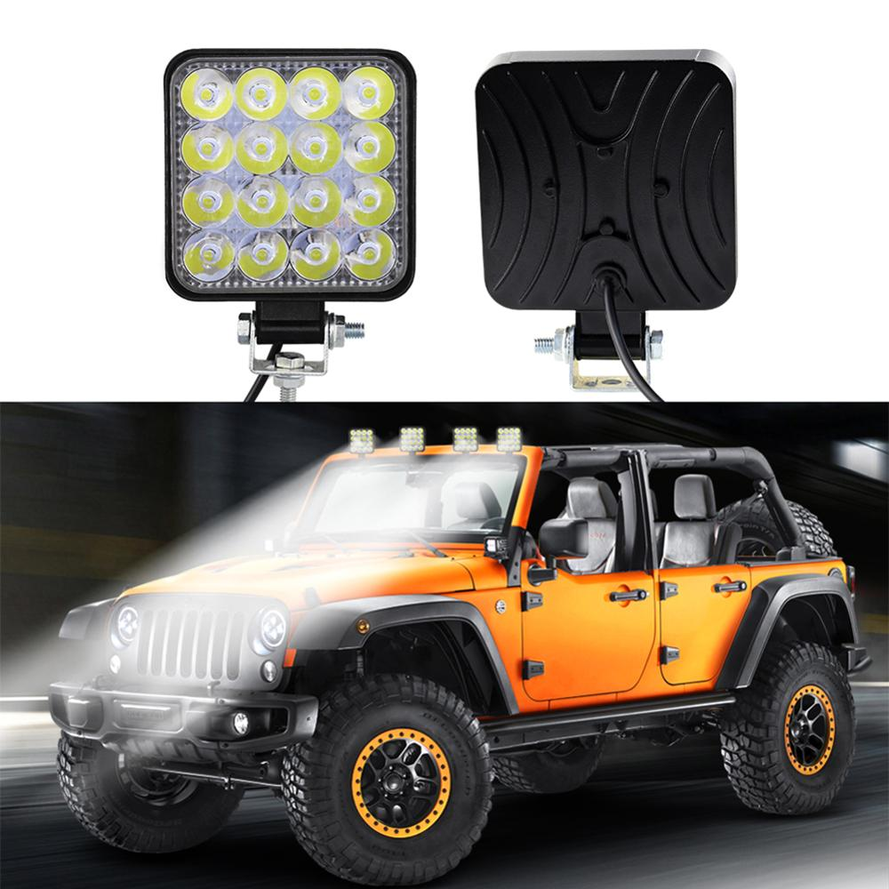Free Shipping Square 48W LED Work Light 12V 24V Off Road Flood Spot Lamp For Car Truck SUV 4WD Lamp Light Bulbs Wholesale CSV