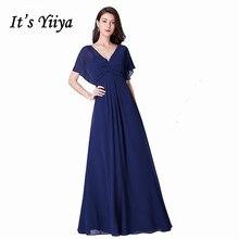 Its Yiiya Bridesmaid Dress For Girls Short Sleeve Solid Chiffon Robe Demoiselle D Honneur C488 Pleat Plus Size Bridesmaid Dress.