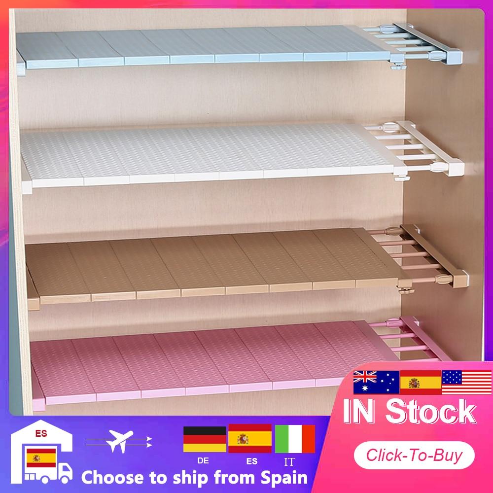 Adjustable Closet Space Saving Storage Shelf Organizer Wall Mounted DIY Kitchen Rack  Wardrobe Cabinet Holders 1pc