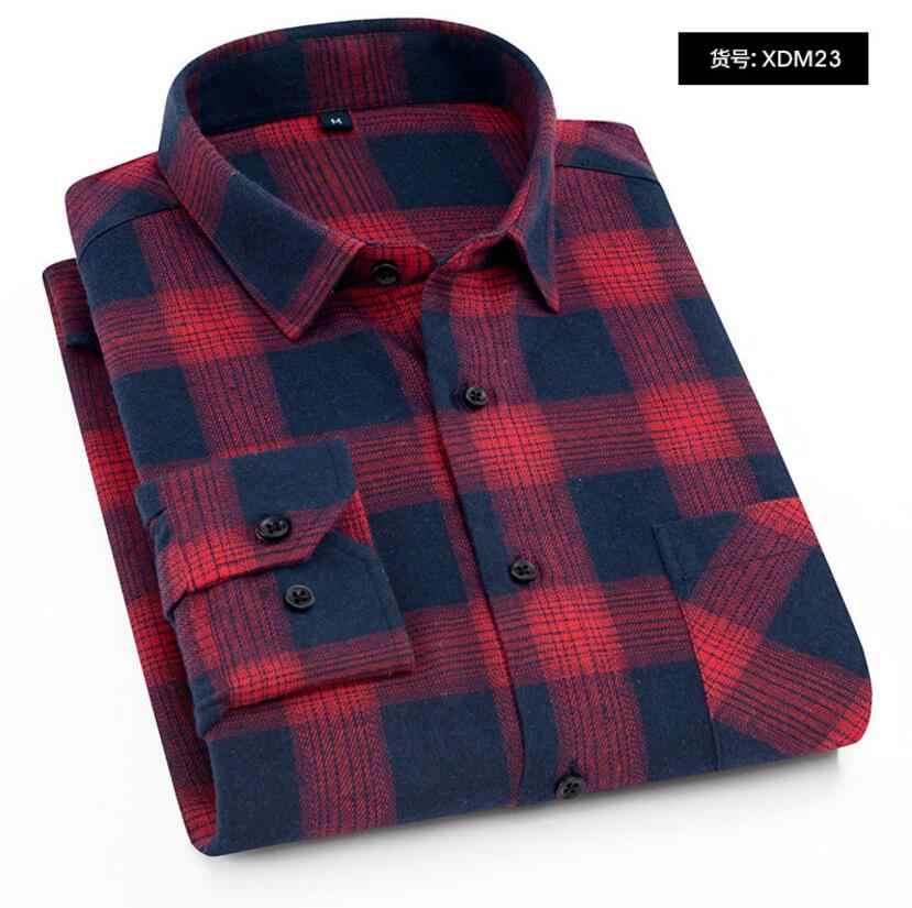 男性の格子縞のフランネルシャツスリムフィットソフト春男性シャツブランド男性のビジネスカジュアル長袖シャツ