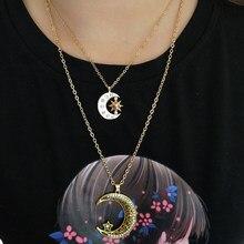 Hzew antigo ouro cor lua estrela sol pingente colar para mulher presente do homem