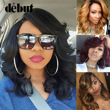 цена на Debut Cheap Lace Part Human Hair Wigs For Women Black Lace Front Bouncy Curl Bob Wigs Brown Blonde Fashion Curly Wigs with Bangs