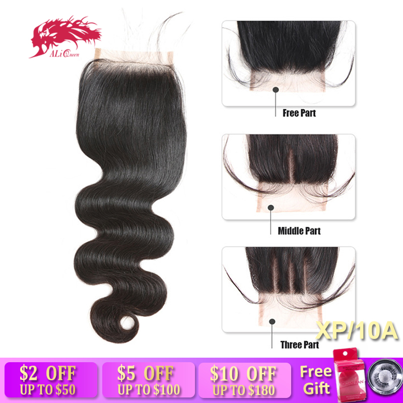 Ali Queen Hair Brazilian Virgin Human Hair Closure Body Wave PrePlucked Hairline 4x4 Swiss Lace/HD Lace/Transparent Lace Closure