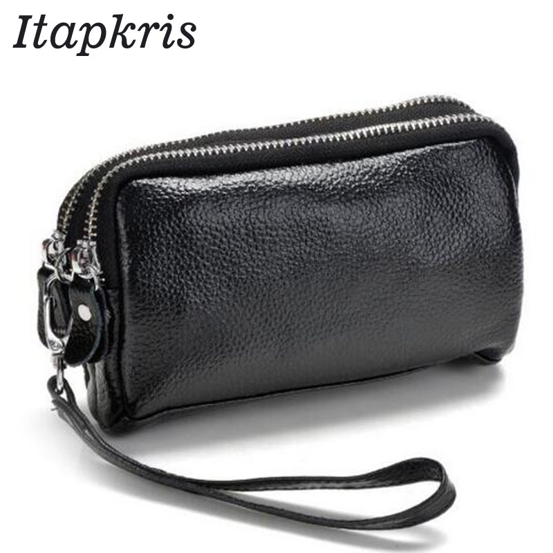 Fashion Women Purse PU Leather Clutch Wallet Female Classic Black Coin Organizer Zipper Phone Pocket Card Pouch
